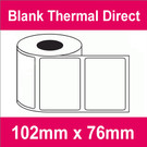 102mm x 76mm Premium Blank Thermal Direct Label (20 rolls)