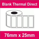 76mm x 25mm Premium Blank Thermal Direct Label (2 rolls)