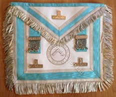 Silver  Apron  with Fringe & Silver  Lodge Badge and  Officer Emblem