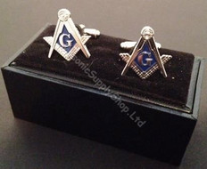 Square & Compass Cufflinks   Silver finish