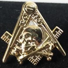 Lapel pin Square & Compass with Classic  Skull & Bones Symbol  Gold Finish