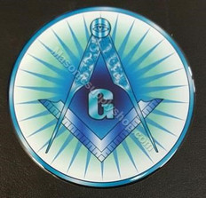 Decal  3mm Laminated   Blue Square and Compass with Rays