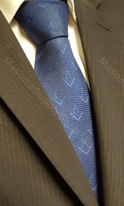 Dark Blue Tie with Square & Compass