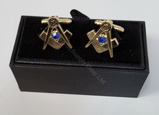 Square and Compass Cuff links with Blue Stone