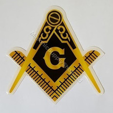 Car Decal  Gold Square & Compass with G