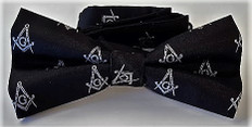 Black Bow Tie with Silver Square and Compass Design