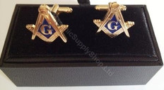 SQUARE AND COMPASS CUFFLINKS GOLD FINISH
