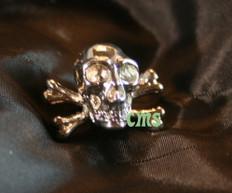 Skull and Cross Bones Lapel Pin  Gold 1/4