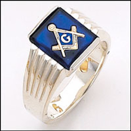 Silver Masonic Ring with Blue Stone -22