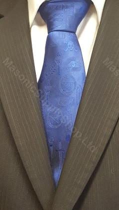 Masonic Tie  Blue with Masonic Symbols