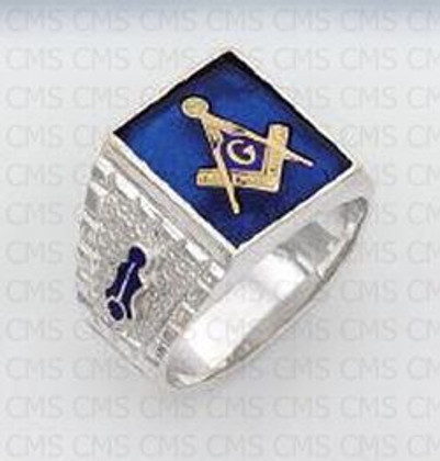 Silver Masonic Ring Blue Stone -2