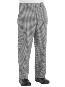 Unisex Side Elastic Cook Pant, B/W Check, size:28-54