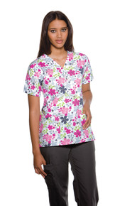 Cherokee Scrub HQ V-Neck Top, Sunnyvale (XS-5XL)