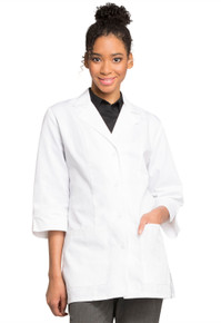 "30"" Cherokee Women's 3/4 Sleeve Antimicrobial Fluid Barrier Lab Coat 1470AB"