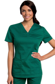 Landau All Day Women's Y-Neck Solid Scrub Top 4143