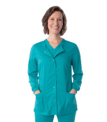 Landau ProFlex Women's Snap Front Warm Up Solid Scrub Jacket 3038