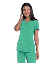Urbane Performance Women's Curved Knit Panel V-Neck Solid Scrub Top 9047