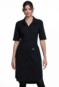 Cherokee Workwear Black Button Front Scrub Dress WW500