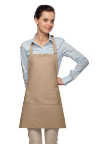 "24"" Three Pocket Bib Apron w/Pencil Divide"