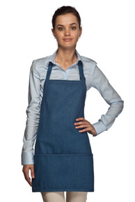"24"" Three Pocket Rounded Denim Bib Apron"