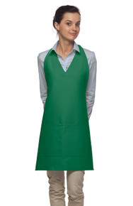 "Daystar 300 32"" V-Neck Tuxedo Apron w/Center Divided Pocket"