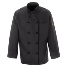 Chef Design 10 Knot Button Black Chef Coat, 100% Spun Poly, size:XS-5XL