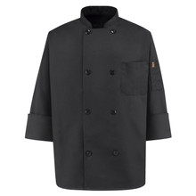 Chef Design 8 Button Black Chef Coat, size:XS-5XL