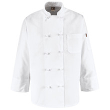 10 Knot Chef Coat, 100% spun poly, size:XS-5XL