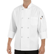 Unisex 8 Button Basic Chef Coat w/Therm Pocket, size:XS-5XL