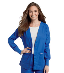 Landau Women's Cardigan V-Neck Warm-Up Solid Scrub Jacket 7535