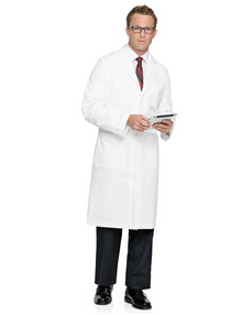 "45"" Landau 3138 Knot-Button Labcoat, cotton twill"