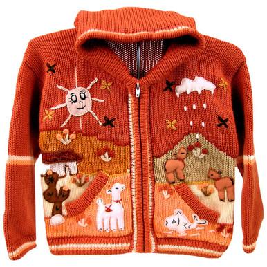 Children's Full Zip Applique Sweater with Hood