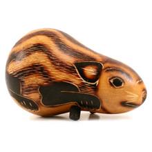 """Gourd Guinea Pig 5"""" Carving Natural Artisan Made Peru"""
