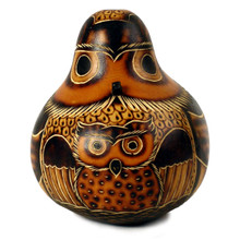 "Gourd Owl, medium 5""Hand Carved Standing Ornament"