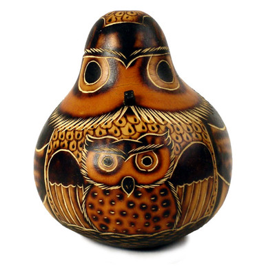 """Gourd Owl, medium 5""""Hand Carved Standing Ornament"""