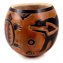 "Gourd Bowl - Animal Designs Carved 5"" Peru Fair Trade"