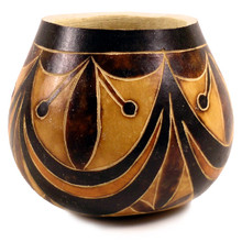 "Gourd Bowl - Geometric 5"" Designs Classic Peru Carving"