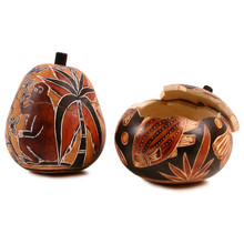 "Gourd Box - Animal Designs 5"" Burned Colors Peruvian Artisan"