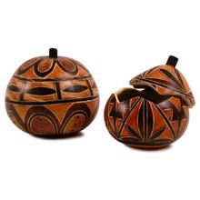 """Gourd Box - Geometric Designs Intricate 5"""" Peru Hand Carved"""