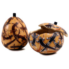 "Gourd Box - Lizard Carving 5"" Container"