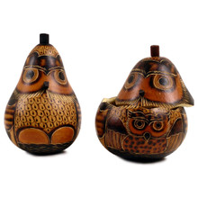 "Gourd Box - Owl Hand Carved Trinket Container 5"" Peru"
