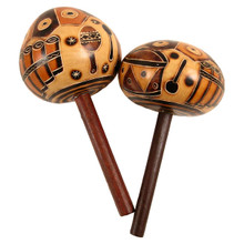 Two Gourd Stick Maraca Carvings Rattlers Pair Set 7""