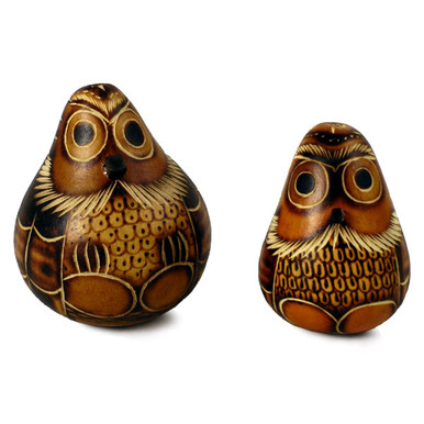 One Pair Maraca Owl Rattlers Natural Carvings Peru Music