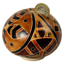 "Gourd Bank Carved Assorted Designs 5"" Peruvian"