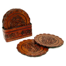Leather Coaster Set - Round