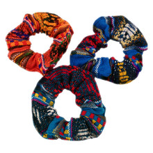 Three Pack Manta Hair Scrunchie Elastic Assorted Colors Bands