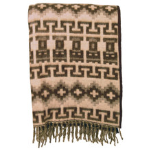 Brushed Alpaca Geometric Blanket - Brown