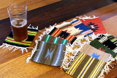 "Assortment Wool Hand Loomed Coasters 5"" x 5"""