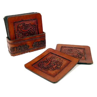 Leather Coaster Set - Square