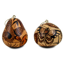 """Gourd Fine Carved Nature Ornaments 3"""""""